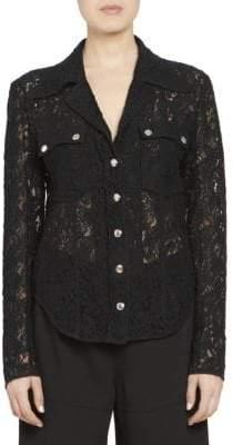 Chloé Baroque Cotton Lace Button Front Blouse