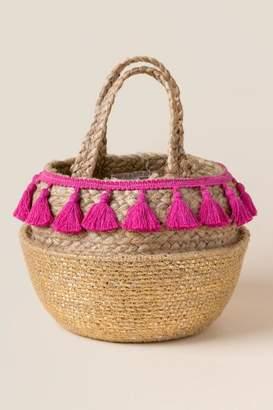 francesca's Ananda Straw Basket Tote - Gold