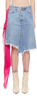 Unravel Raw-Trim Denim Skirt with Pleated Chiffon Scarf Detail