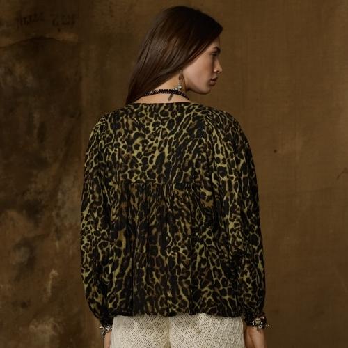Denim & Supply Ralph Lauren Cheetah-Print Peasant Top