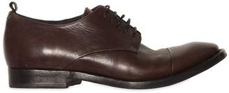 Buttero Washed Leather Derby Lace-Up Shoes
