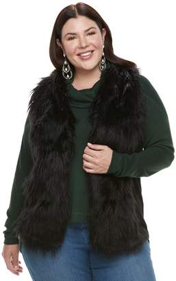 Laundry by Shelli Segal Plus Size French Faux-Fur Vest