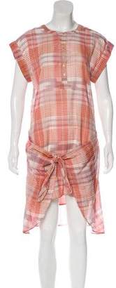 Ulla Johnson Short Sleeve Plaid Midi Dress