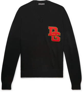 Dolce & Gabbana Logo-Appliqued Virgin Wool Sweater - Black