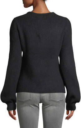 Marled By Reunited Lace Insert Balloon-Sleeve Sweater
