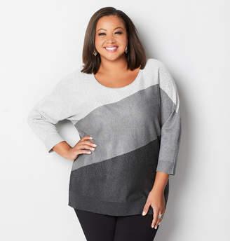 Avenue Sparkle Grey Colorblock Sweater