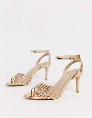 Glamorous rose gold mirror strappy heeled sandals