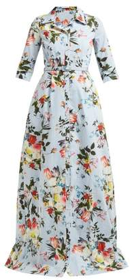 Erdem Karissa Floral Print Striped Cotton Shirtdress - Womens - Blue Print
