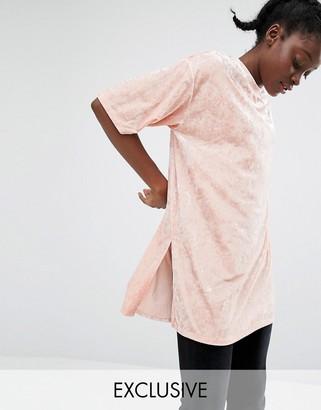 Monki Longline Velvet T-Shirt $38 thestylecure.com