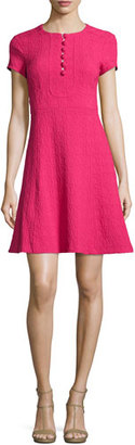 Nanette Lepore Short-Sleeve Jacquard Fit-and-Flare Dress, Fuchsia $298 thestylecure.com
