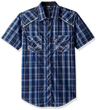 Ely & Walker Men's Short Sleeve Textured Plaid Shirt with Accent Stitch