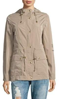 Weatherproof Hooded Drawstring Anorak