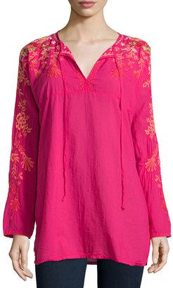 Johnny Was Jessica Long-Sleeve Embroidered Woven Tunic, Pink Berry $169 thestylecure.com