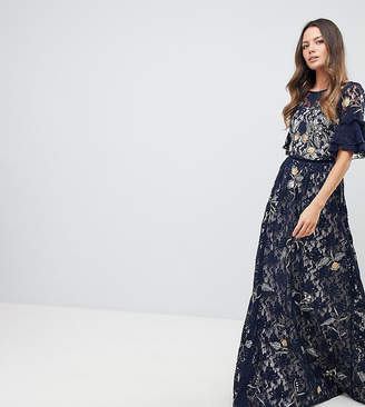 Frock and Frill Tall Frock And Frill Tall Allover Floral Embroidered Lace Maxi Dress With Flutter Sleeve