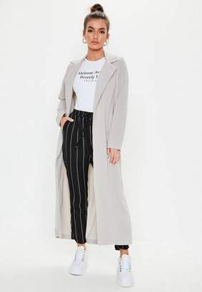 Missguided Long Sleeve Maxi Duster Jacket Grey, Grey