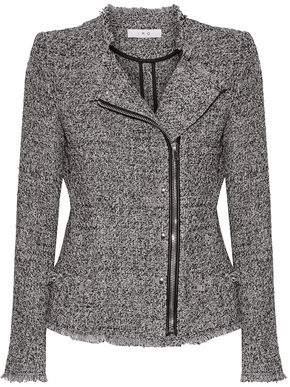 Leather-Trimmed Frayed Cotton-Blend Tweed Jacket