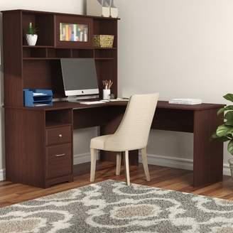Hillsdale Red Barrel Studio L-Shape Credenza Desk with Hutch