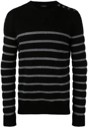 Balmain shoulder button striped sweater