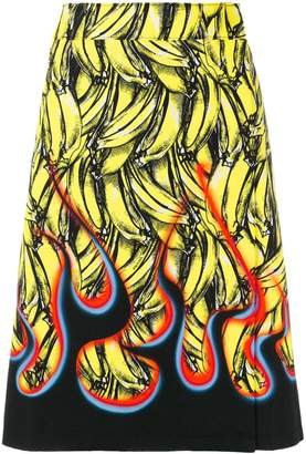 Prada banana-print A-line skirt