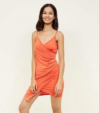 New Look Bright Orange Hardware Strap Asymmetric Wrap Party Dress