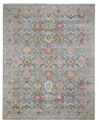 """Bloomsbury Market One-of-a-Kind Koschig the Sunset Rosettes Hand-Knotted 8'1"""" x 10'1"""" Wool/Silk/Cotton Gray Area Rug Bloomsbury Market"""