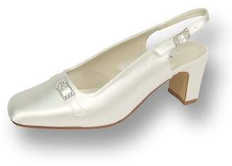 FLORAL Daisy Women Extra Wide Width Dyeable Bridal Pump Shoes White 7