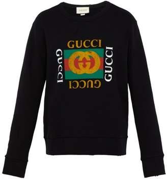 Gucci Distressed Effect Logo Print Cotton Sweatshirt - Mens - Black
