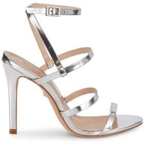 Schutz Metallic Leather Sandals