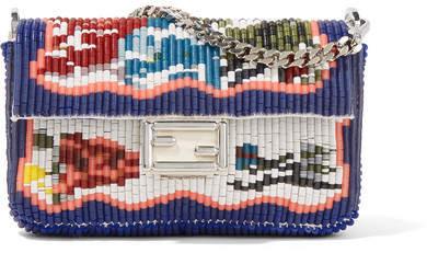 Fendi - Baguette Micro Embellished Leather Shoulder Bag - Blue
