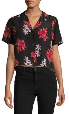Rails Silk Button-Down Floral Top