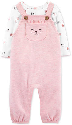 Carter's Carter Baby Girls 2-Pc. Animal-Print T-Shirt & Overalls Set