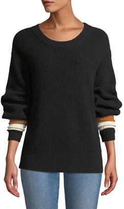 A.L.C. Jasper Colorblock-Cuffs Ribbed Cashmere-Blend Sweater