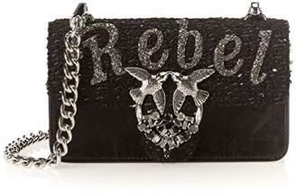 Pinko Mini Love Rebel Heart Tracolla Vitello Vintage, Women's Shoulder Bag,6.5x12x21 cm (W x H L)