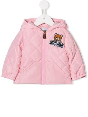 Moschino Kids teddy logo quilted jacket