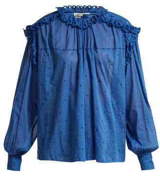 Etoile Isabel Marant Eva Ruffled Embroidered Cotton Voile Top - Womens - Blue