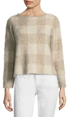 Eileen Fisher Brushed Mohair Checkered Sweater