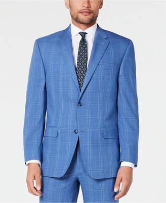 Sean John Men Classic-Fit Stretch Blue Plaid Suit Jacket