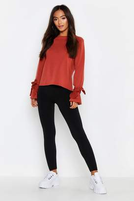 boohoo Petite Tie Sleeve Sweat Top