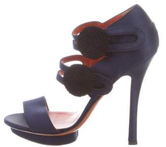 Santoni Satin Platform Sandals w/ Tags