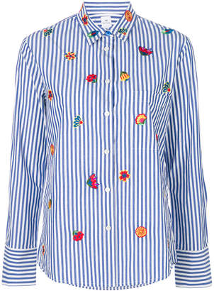 Paul Smith flower embroidered striped shirt