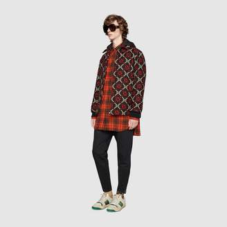 Gucci Oversize check wool shirt with anchor