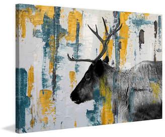 Parvez Taj ParvezTaj 'Teal Yellow Reindeer' by Painting Print on Wrapped Canvas