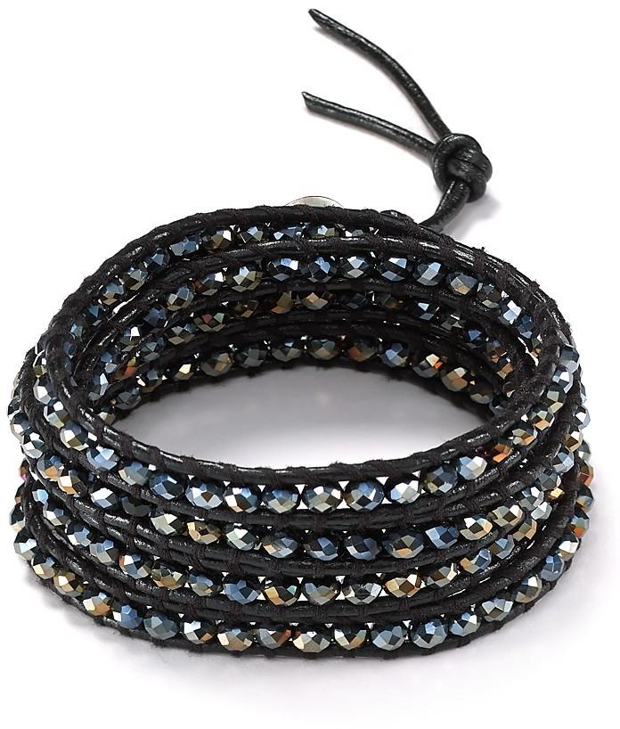Chan Luu Five Wrap Midnight Crystal Black Bracelet