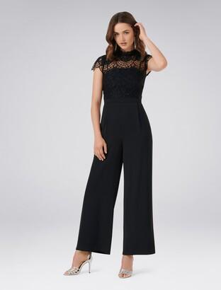 Forever New Leona Lace Wide Leg Jumpsuit - Black - 4