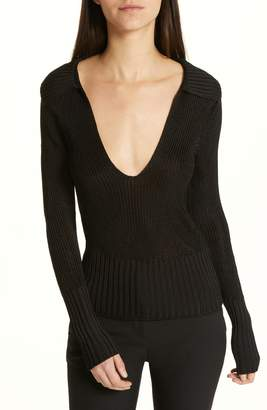 Theory Back Collar Ribbed Plunge Neck Sweater