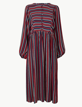 Marks and Spencer Striped Long Sleeve Relaxed Midi Dress