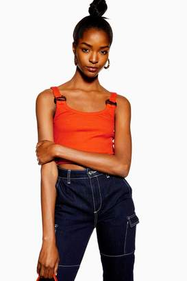 Topshop Womens Buckle Ribbed Crop Cami - Orange