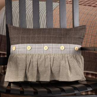 Ashton & Willow Greige Grey Rustic & Lodge Bedding Rory Cotton Ruffling Chambray Windowpane Rectangle Pillow (Pillow Cover, Pillow Insert)