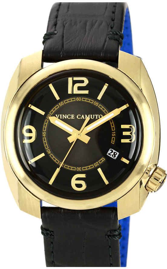 Vince Camuto Square Case Leather Strap Watch, 42mm