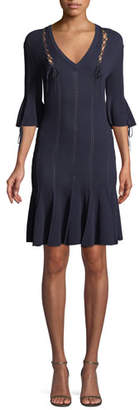 Jonathan Simkhai V-Neck Linked Rib-Knit Dress w/ Lace-Up Detail